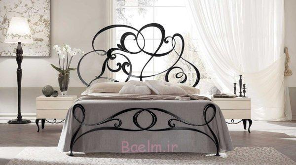 schlafzimmer gestalten metallbett schmiedeeisen schwarz rankenmuster geschwungene linien archiproducts