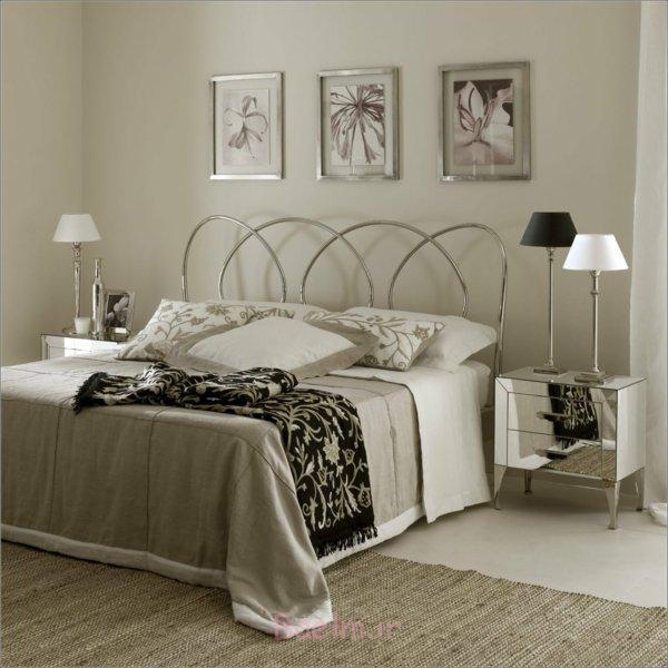 schlafzimmer gestalten moderne zimmereinrichtung tischleuchten art deco metallbett aluminium minimalistisches design