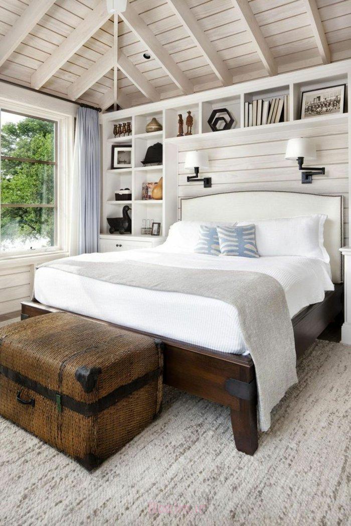 schlafzimmereinrichtung einrichtungsideen kolonialstil alte truhe massivholzbett