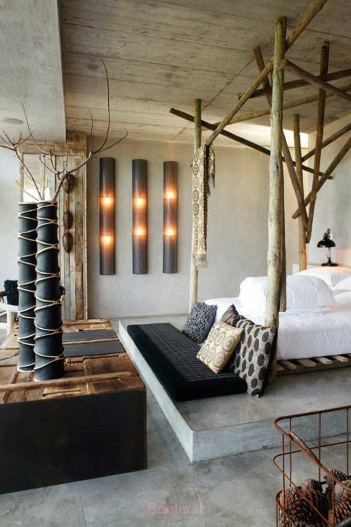 schlafzimmereinrichtung ethno einrichtung holzsäulen bettgestell