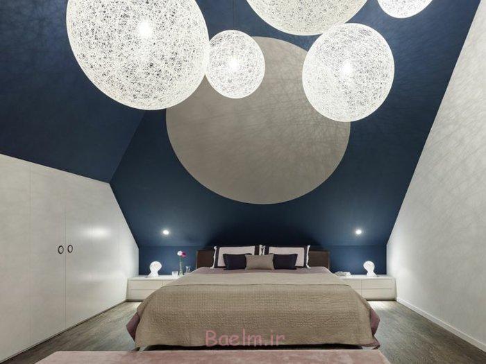 schlafzimmergestaltung modernes design geometrische formen runde hängeleuchten