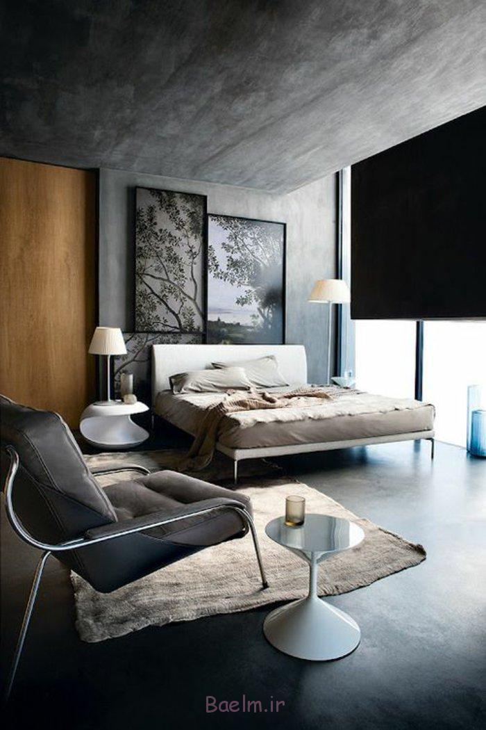 schlafzimmergestaltung moderne möbel betonoptik wände decke