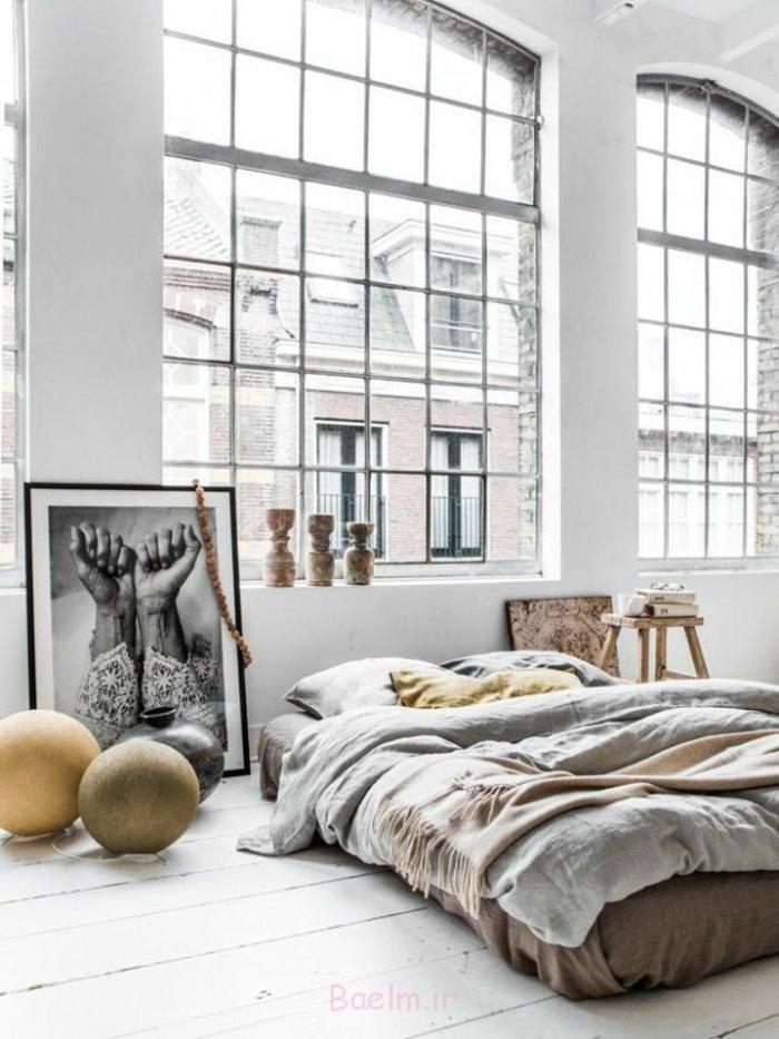schlafzimmergestaltung niedriges doppelbett große fenster foto kunstwerk