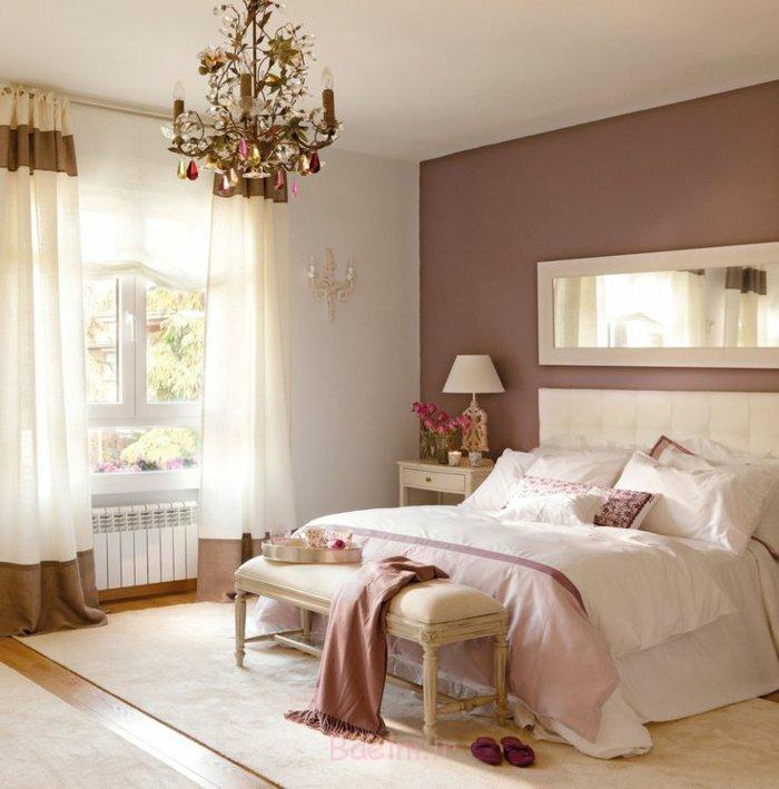 schlafzimmergestaltung pastellfarbe rosa wandfarbe bettbank