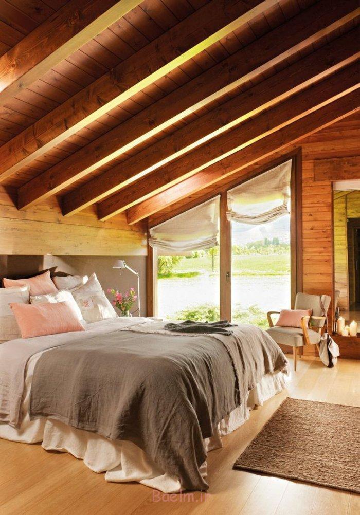 schlafzimmergestaltung rustikaler stil greue nuancen offene deckenbalken