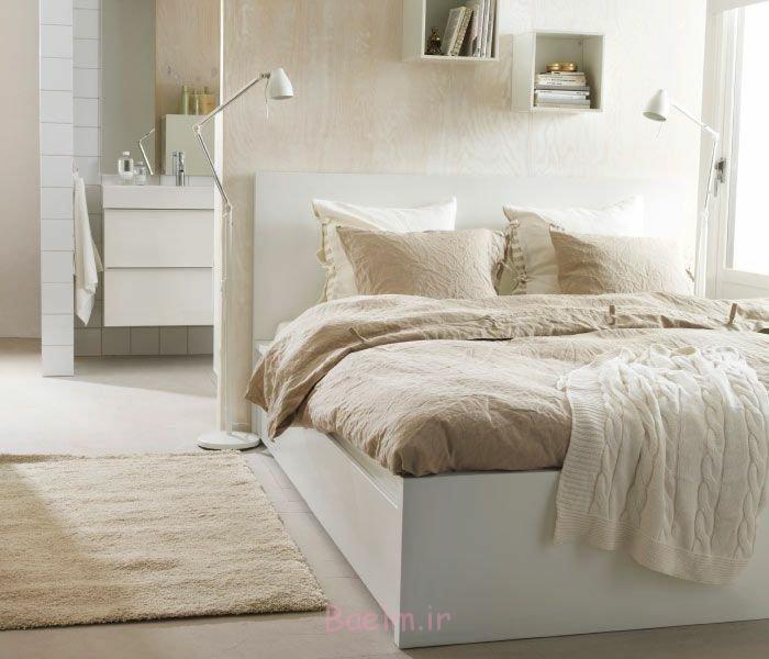 schlafzimmergestaltung skandinavisches design beige weiße textilien helles holz