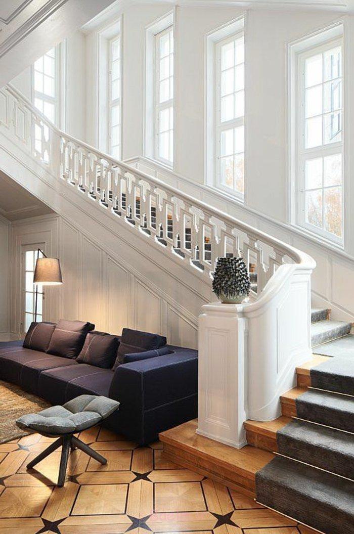 teppich für treppen grauer teppichläufer weißes geländer offener wohnplan
