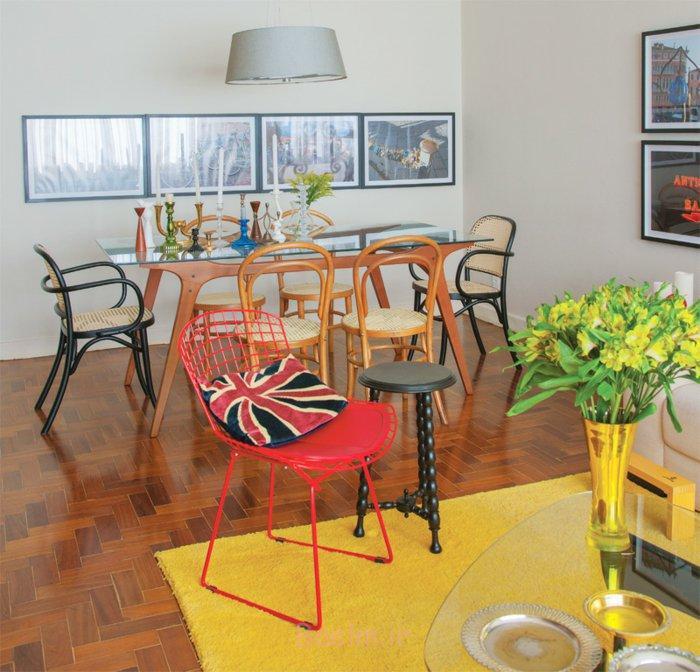 wohnzimmer einrichten tipps bodenbelag gelber teppich holzboden