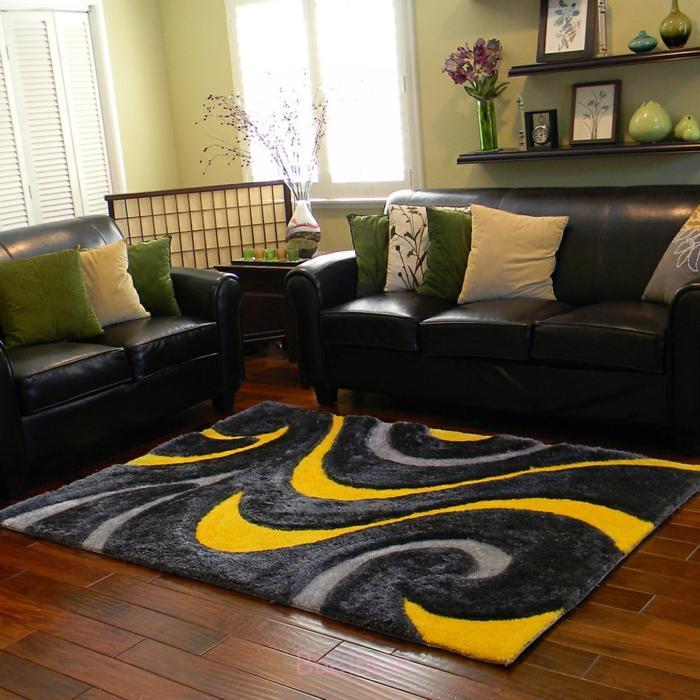 wohnzimmer einrichten tipps bodenbelag teppich gelb schwarz