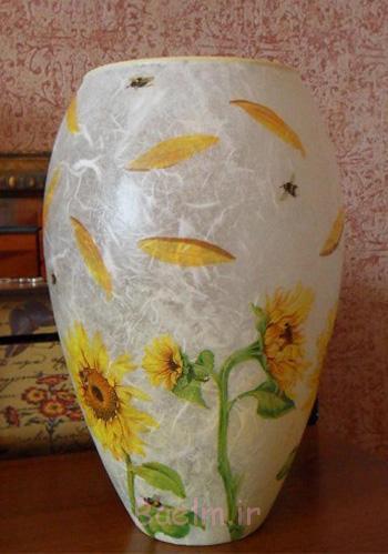 تزیین گلدان با دکوپاژ,آموزش دکوپاژ روی گلدان
