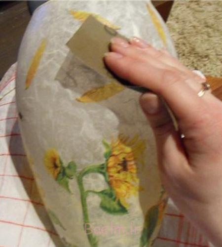 آموزش تزئین ظروف شیشه ای,تزیین گلدان با دکوپاژ
