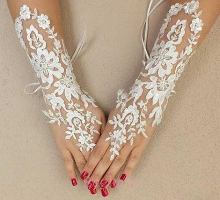 دستکش عروس با ساتن و تور,دستکش عروس
