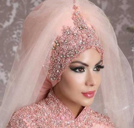 تاج و تور محجبه عروس, مدل تاج و تور عروس عربی