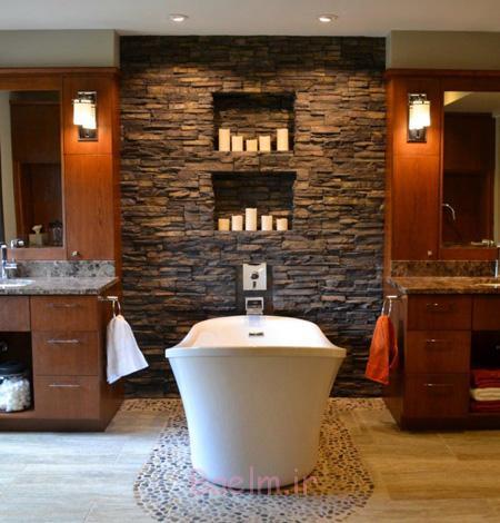طراحی و چیدمان حمام,کاربرد سنگ آنتیک در حمام