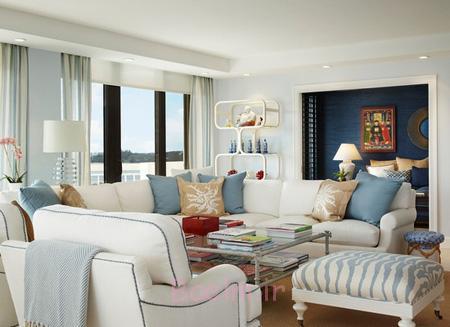 اصول چیدمان خانه به رنگ آبی,نحوه چیدمان خانه به رنگ آبی