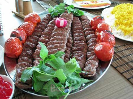 تزیین کباب کوبیده با نان,تزیین کباب کوبیده,تزیین کباب