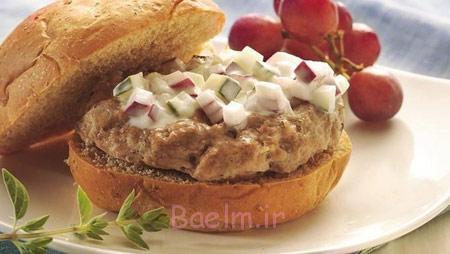 طرز تهیه بوقلمون برگر یونانی,درست کردن برگر با بوقلمون