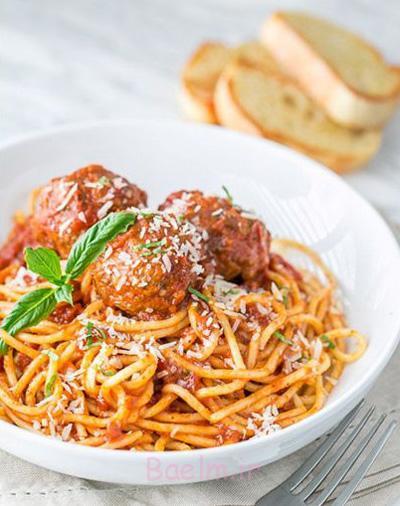 طرز تهیه اسپاگتی با انواع سس,درست کردن اسپاگتی با سس میت بال