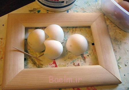 تزیین قاب عکس با پوسته تخم مرغ,آموزش تزیینات قاب عکس