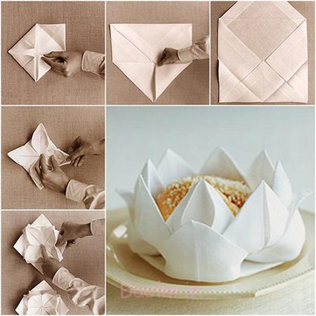 تزیین دستمال سفره,تزیین دستمال سفره به شکل گل نیلوفر