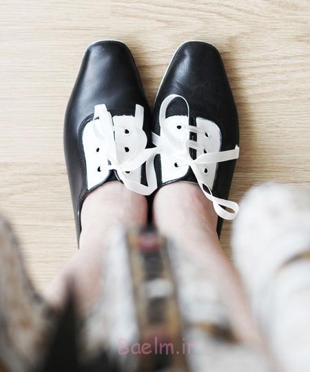 آموزش تصویری تغییر کفش های ساده,تغییر شکل کفش های ساده