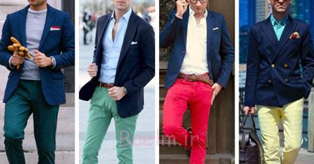 راهنمای ست کردن کت و شلوار آقایان,ست کردن کت و شلوار رنگی آقایان