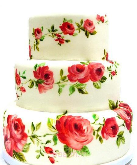 نقاشی روی کیک تولد,نقاشی روی کیک با خامه,نقاشی روی کیک چند طبقه