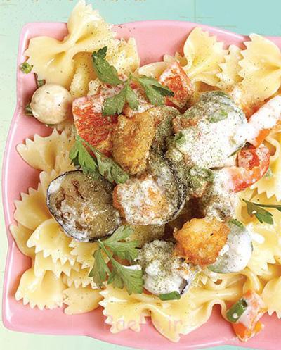 پخت پاستا با سس سبزیجات و میگو,طرز تهیه پاستا با میگو