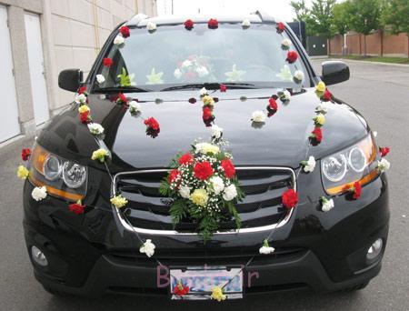 ماشین عروس با گل و تور, ساده ترین مدل ماشین عروس