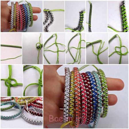 بافت دستبند با نخ های رنگی, آموزش بافت دستبند با نخ های رنگی