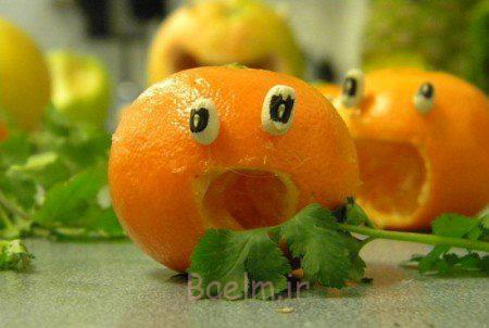 تزیین پرتقال ساده,تزیین پرتقال برای کودک,تزیین پرتقال