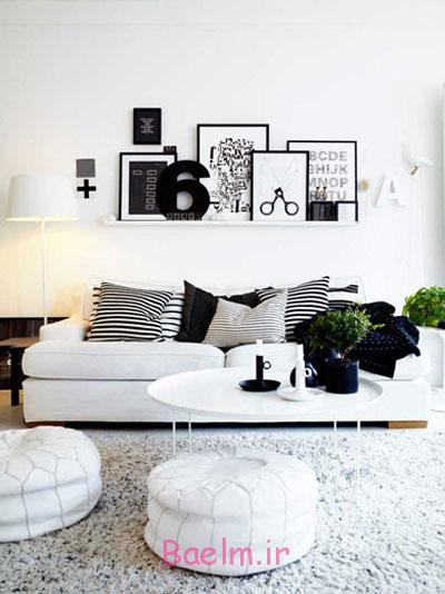 بهترین رنگ وسایل برای خانه های سفید, چیدمان سیاه و سفید خانه