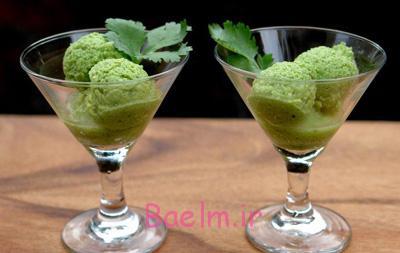بستنی رژیمی با آووکادو,طرز تهیه بستنی آووکادو و گشنیز