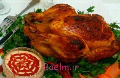 مرغ شکم پر بدون فر,پخت مرغ شکم پر بدون فر