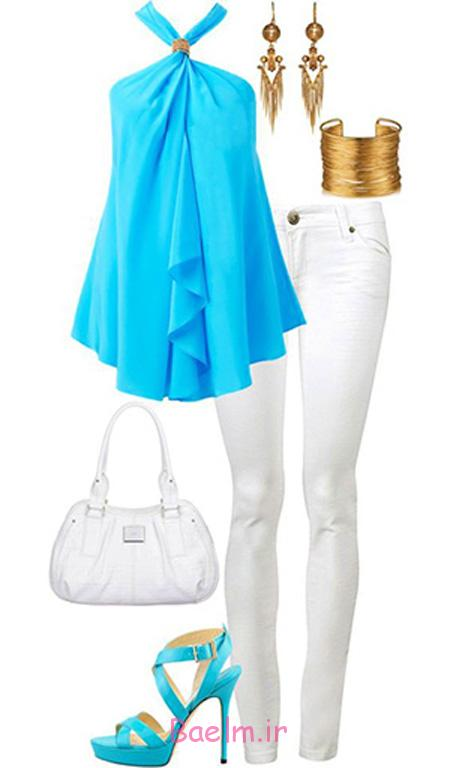 جدیدترین ست های تابستانی با شلوار سفید, نحوه ست کردن لباس با شلوار جین سفید