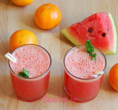 نحوه درست آب هندوانه و پرتقال,مواد لازم برای آب هندوانه و پرتقال