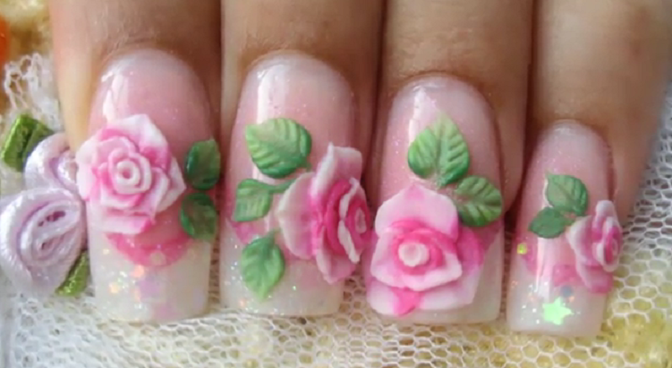۳d-rose-acrylic-nail-art
