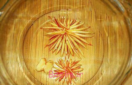 تزیین ژله با سیب, تزیین ژله با سیب به شکل گل داوودی