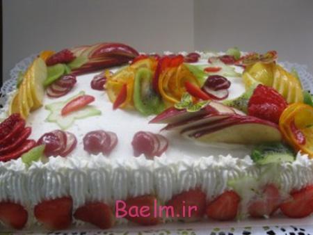 تزیین کیک تولد با میوه,تزیین کیک با میوه