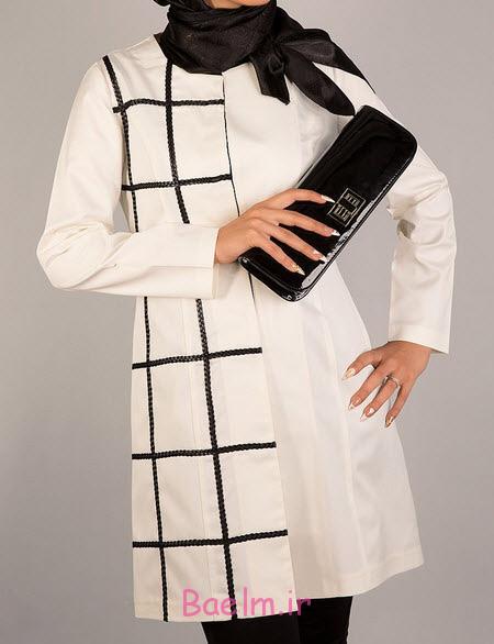 مانتوهای شیک سفید و مشکی,مدل مانتو سفید و مشکی