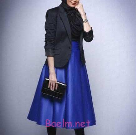 مدل مانتو جدید - زنانه و دخترانه - مانتو کاربنی با کت مشکی