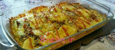 طرز تهیه گراتن سیب زمینی,مواد لازم برای گراتن سیب زمینی با گوشت