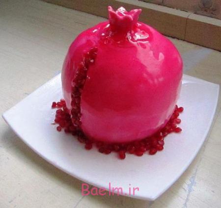 تزیین کیک شب یلدا به شکل هندوانه, تزیین کیک شب چله به شکل انار