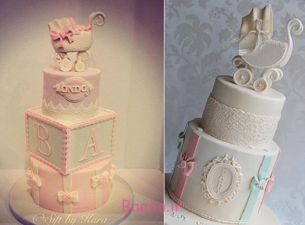 """زیباترین مدل کیک """"تولد نوزاد دختر""""   مدل تزیین کیک تولد دخترانه"""