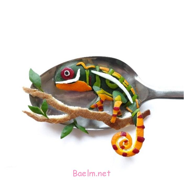 عکسهای بسیار جالب از هنرنمایی با مواد غذایی روی قاشق