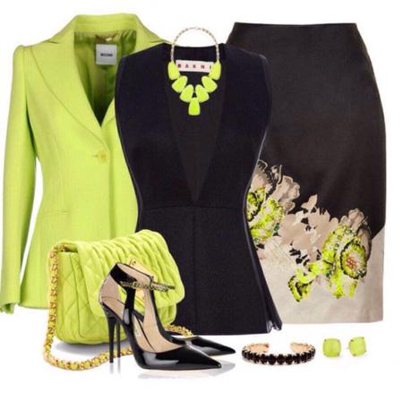 ست کردن لباس سبز با  رنگ های مختلف - ست لباس مجلسی زنانه