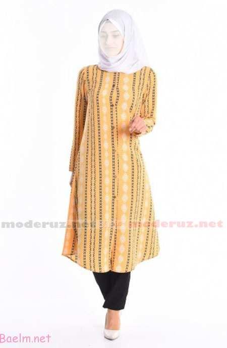 مدل مانتو زرد طرح دار با شلوار سیاه و روسری سفید