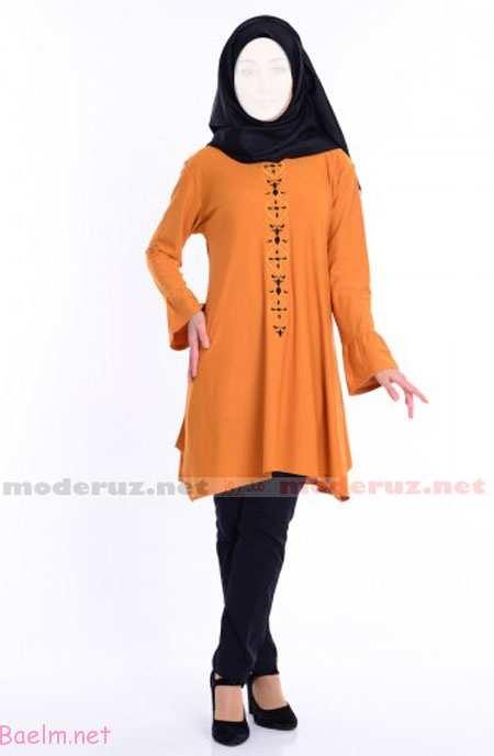 مانتو کوتاه - رنگ نارنجی - شال و شلوار مشکی