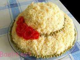 تزئین سالاد الویه مجلسی به شکل کیک