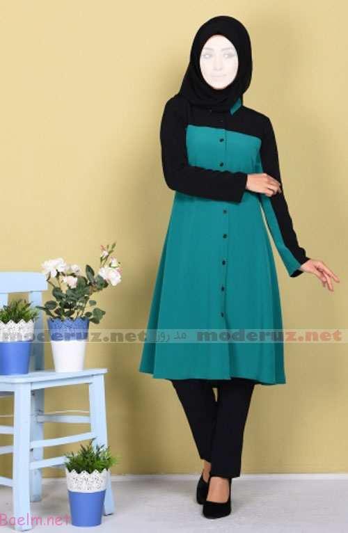 مدل مانتو دخترانه رنگ سبز کله غازی با شلوار ، کفش و شال مشکی